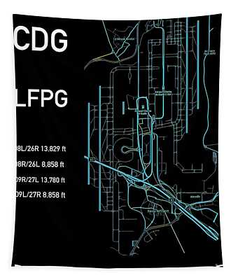 Tapestry featuring the digital art Cdg Paris Airport Black Edition by Helge