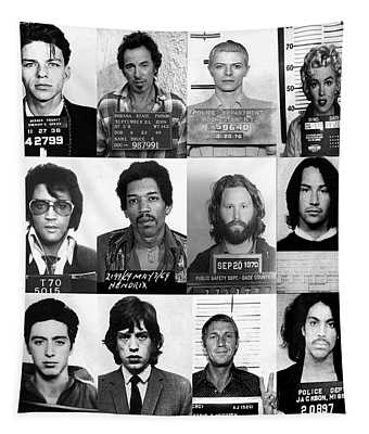 Celebrity Mug Shots Of Legends From Movie, Music And Gangsters Tapestry