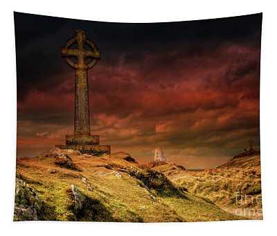 Celtic Cross Llanddwyn Island Tapestry