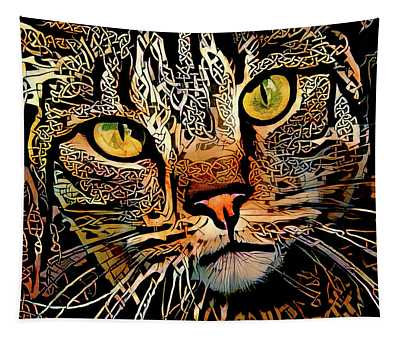 Celtic Knot Cat Art Tapestry