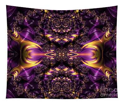 Chained Dragons Condemned  To Battle In Hells Fiery Furnace Fractal Abstract Tapestry