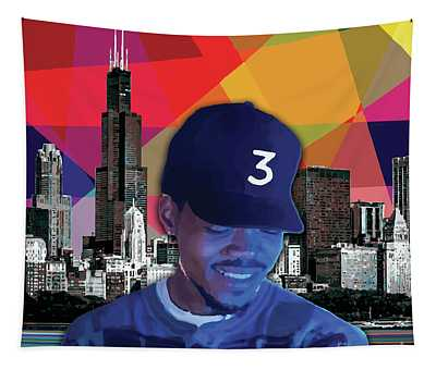 Tapestry featuring the painting Chance Chicago by Carla B