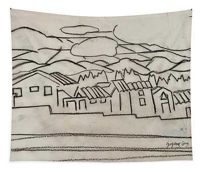 Charcoal Houses Sketch Tapestry
