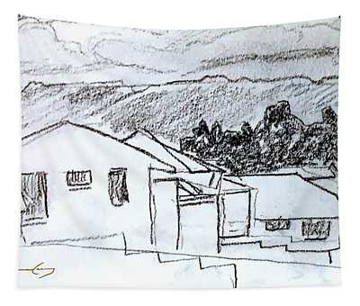 Charcoal Pencil Houses.jpg Tapestry