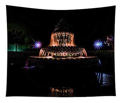 Charleston's Pineapple Fountain At Night Tapestry