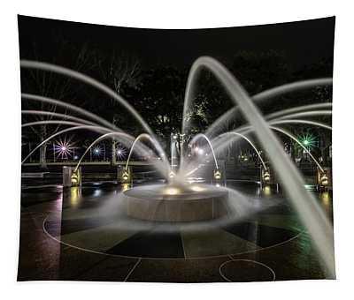 Charleston's Splash Fountain At Night Tapestry