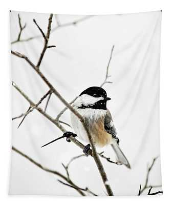 Charming Winter Chickadee Tapestry