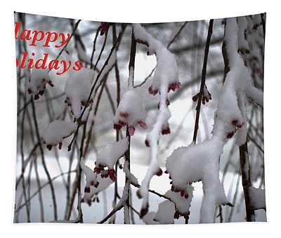 Cherry Blossoms In Snow Tapestry