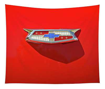 Chevrolet Emblem On A 55 Chevy Trunk Tapestry