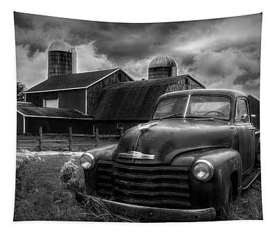 Chevrolet In The Countryside In Black And White Tapestry