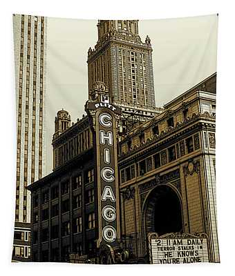 Chicago Cinema Theater - Vintage Photo Art Tapestry