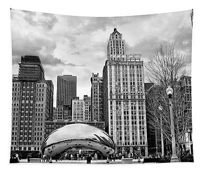 Chicago Skyline In Black And White Tapestry