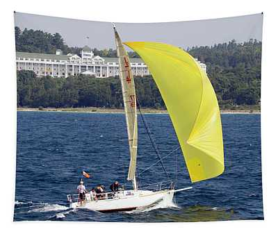 Chicago To Mackinac Yacht Race Sailboat With Grand Hotel Tapestry