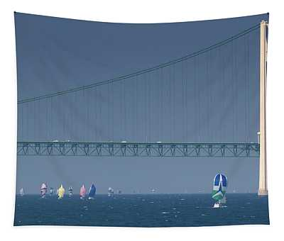 Chicago To Mackinac Yacht Race Sailboats With Mackinac Bridge Tapestry