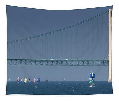Chicago To Mackinac Yacht Race Sailboats With Mackinac Bridge Tapestry