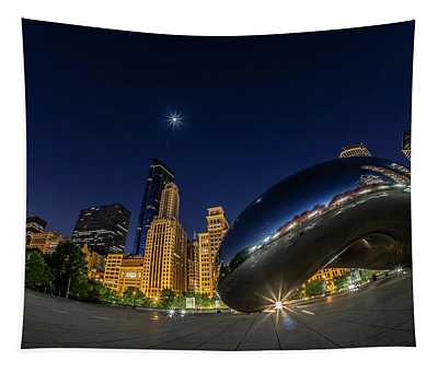 Chicago's Bean And Moon  Tapestry