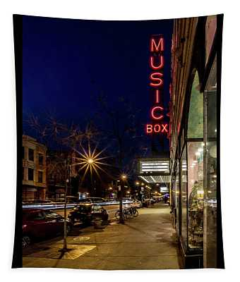 Chicago's Music Box Theatre At Dusk  Tapestry