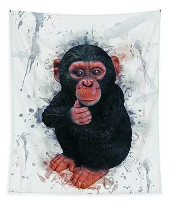 Chimpanzee Art Tapestry