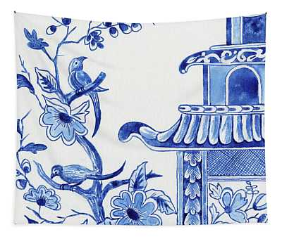 Chinoiserie Blue And White Birds In Flowering Tree And Pagoda Tapestry