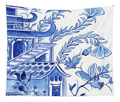 Chinoiserie Blue And White Pagoda Floral 1 Tapestry