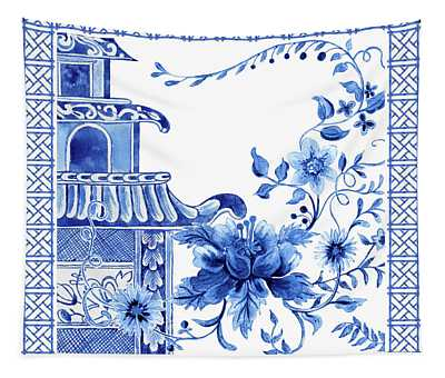 Chinoiserie Blue And White Pagoda With Stylized Flowers And Chinese Chippendale Border Tapestry