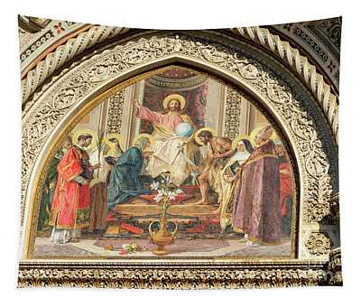 Christ Enthroned With Mary And John The Baptist Florence Cathedral Tapestry