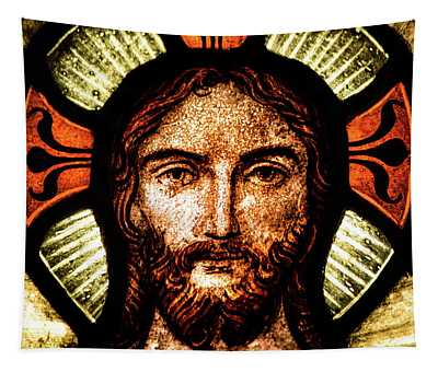 Christ In Stained Glass Tapestry
