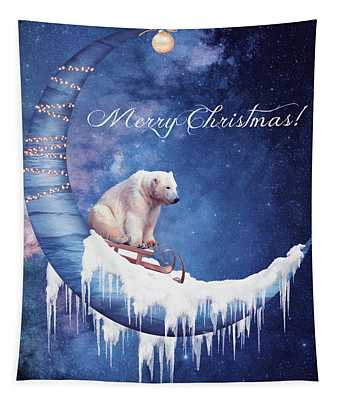 Christmas Card With Moon And Bear Tapestry