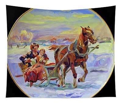 Christmas Morning Sleigh Ride Tapestry
