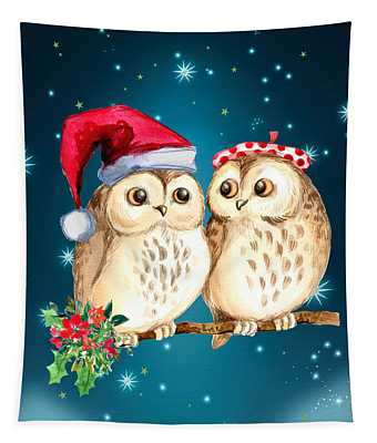 Christmas Owls Tapestry