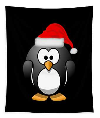 Tapestry featuring the digital art Christmas Santa Penguin by Flippin Sweet Gear