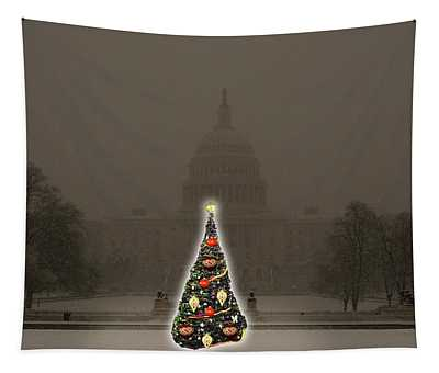 Christmas Tree At The Capitol Tapestry