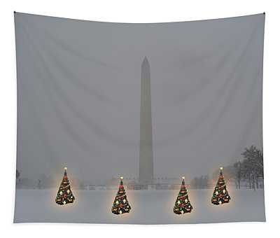 Christmas Trees Around The Monument Tapestry