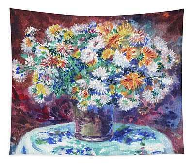 Chrysanthemum Flowers Bouquet Renoir Style Study Tapestry