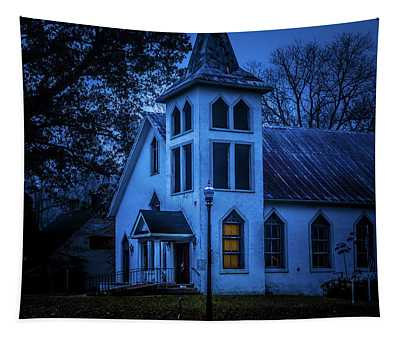 Church At Night Tapestry