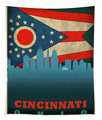Cincinnati City Skyline State Flag Of Ohio Tapestry