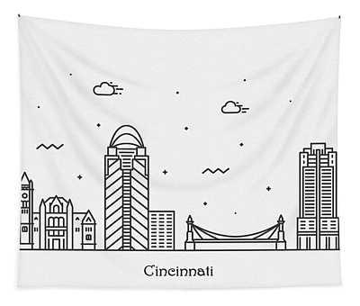 Cincinnati Cityscape Travel Poster Tapestry