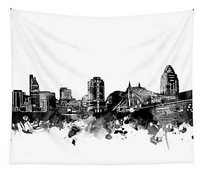 Cincinnati Skyline Bw Tapestry