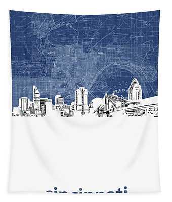 Cincinnati Skyline Map Blue Tapestry