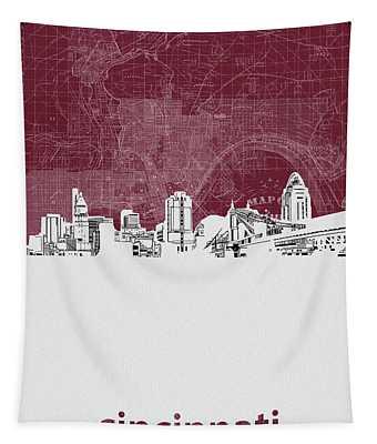 Cincinnati Skyline Map Red Tapestry