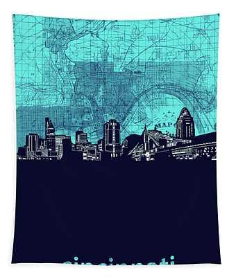 Cincinnati Skyline Map Turquoise Tapestry
