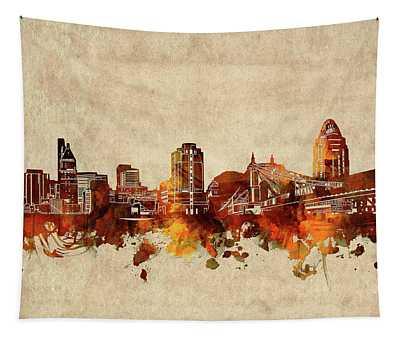 Cincinnati Skyline Sepia Tapestry