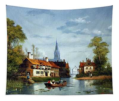 City At The River Tapestry