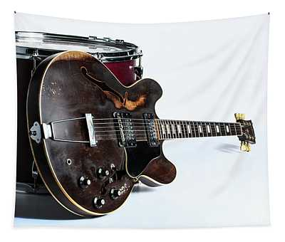 Classic Light Gibson Guitar Image With Drum 1744.006 Tapestry