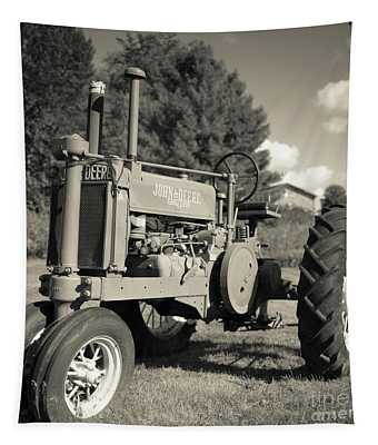 Classic Old Tractor Stowe Vermont Square Tapestry