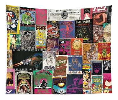 Classic Rock Poster Collage 3 Tapestry