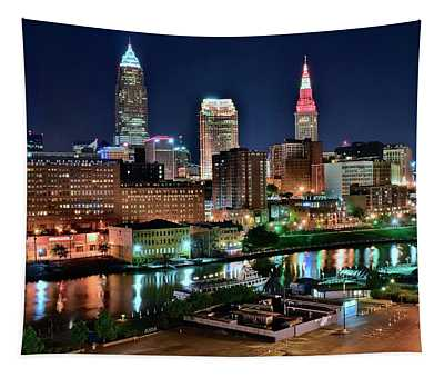 Cleveland Iconic Night Lights Tapestry