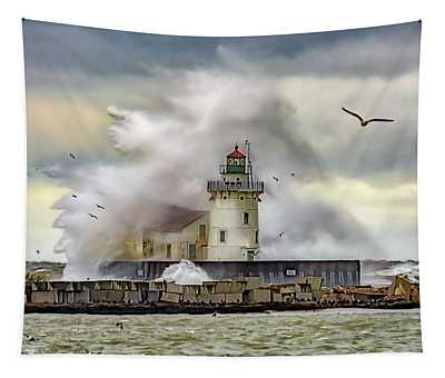 Cleveland Lighthouse Storm  Tapestry
