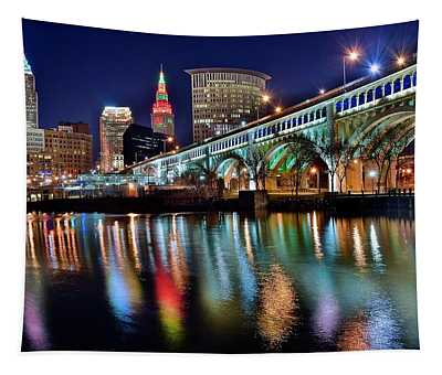 Cleveland Ohio Skyline Reflects Colorfully Tapestry