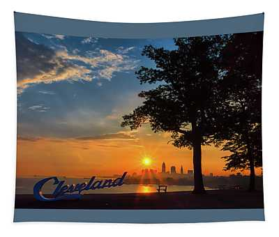 Cleveland Sign Sunrise Tapestry